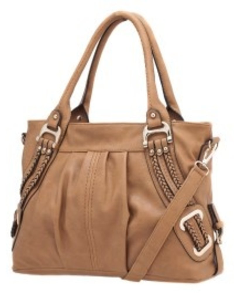 Melie Bianco Melie Bianco Tan Emma Braided Trim Shoulder Bag