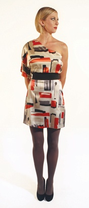 three07 three07 Erin Orange-Red Abstract Print One-Shoulder Bell Sleeve Dress with Black Elastic Belt