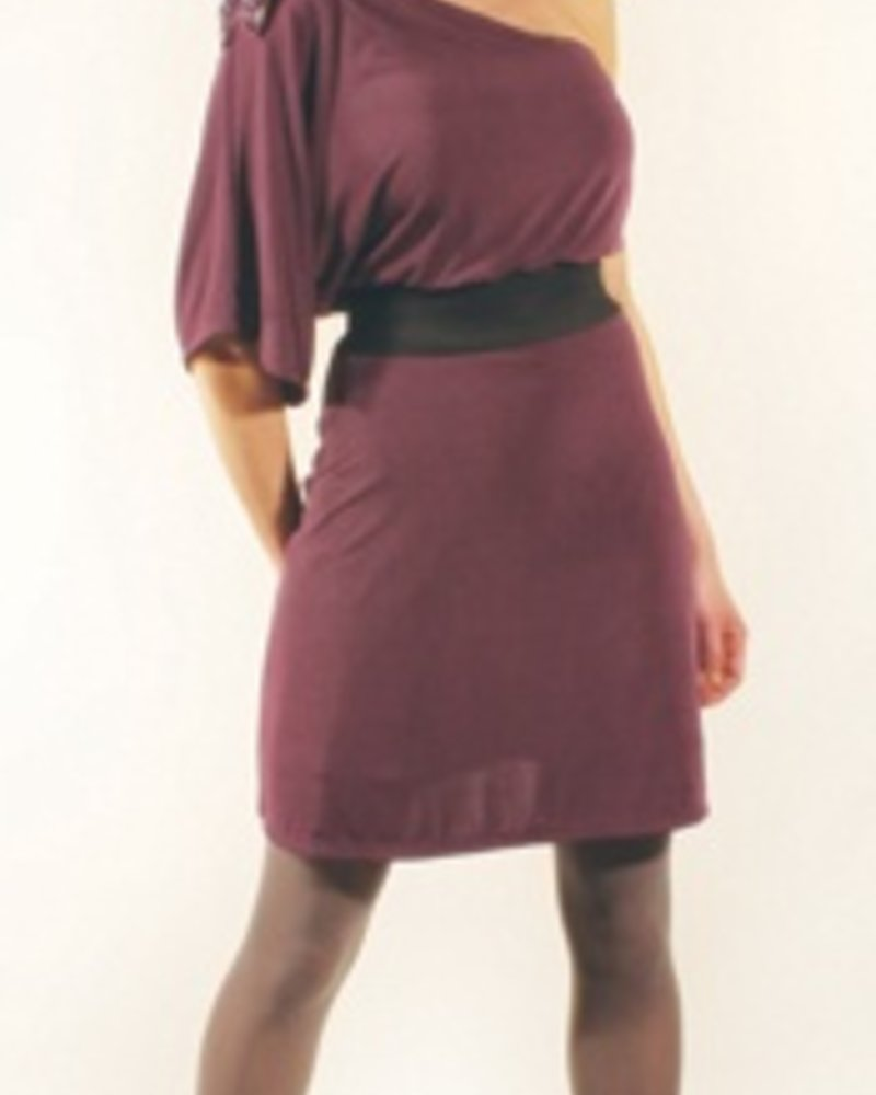 three07 three07 Erin Solid Purple One-Shoulder Dress with Beaded Bow Pendant and Black Elastic Belt