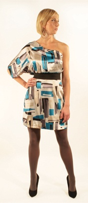 three07 three07 Erin Blue Abstract Print One-Shoulder Bell Sleve Dress with Black Elastic Belt