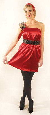 three07 three07 Audrey Solid Red Dress with Black Chiffon Dot One-Shoulder Ruffles