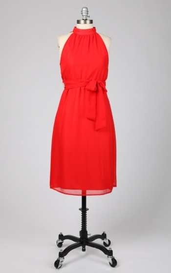 Tulle Mock Neck Midi Dress with Button Detail at Back