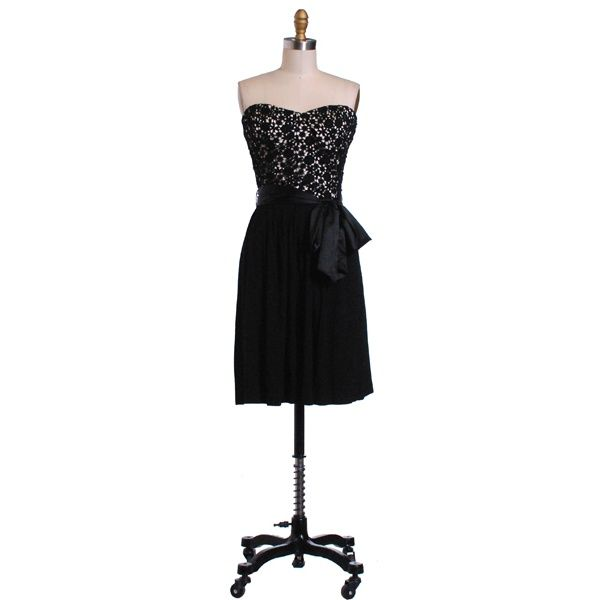 Hazel Hazel Lace Bustier Dress with tie