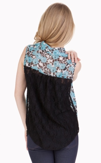 Tulle Tulle Sleeveless Shirt with Lace Contrast Back