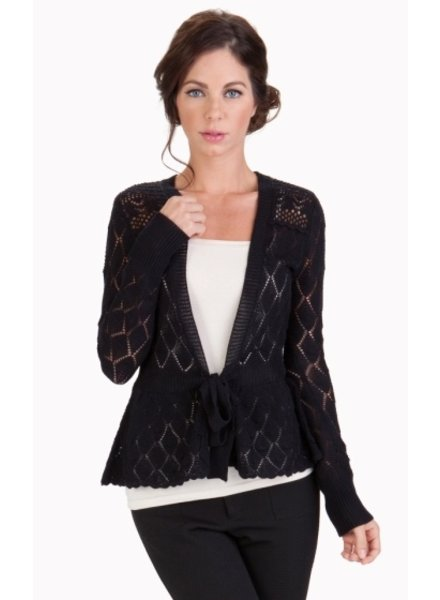 Tulle Cardigan with Scallop Detail with Attached Waisted Tie<br />