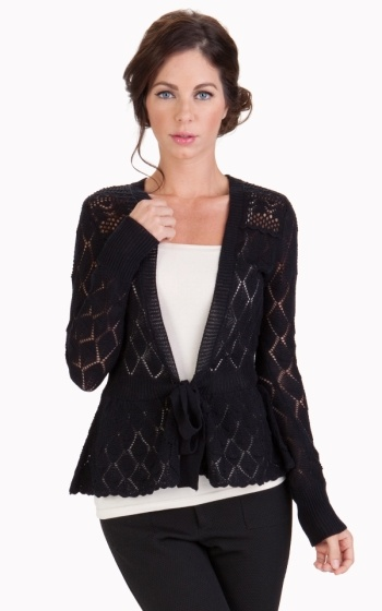 Tulle Cardigan with Scallop Detail with Attached Waisted Tie<br />Cardigan with Scallop Detail with Attached Waisted Tie<br />Cardigan with Scallop Detail with Attached Waisted Tie