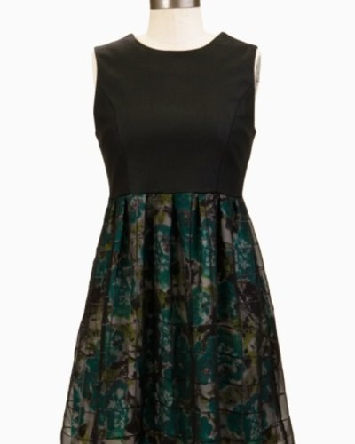 Tulle Tulle Solid Bodice, Floral Skirt Overlay Mid Thigh Dress