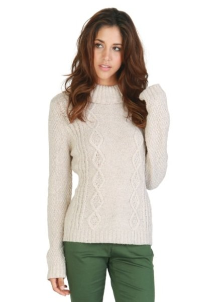 Tulle Tulle Ribbed Cowl Neck Sweater