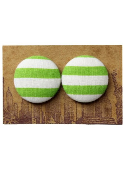 Manhattan Hippy MH Lime striped print earring