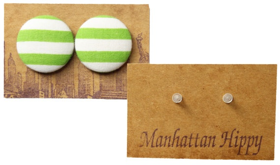 Manhattan Hippy MH Lime striped print earring