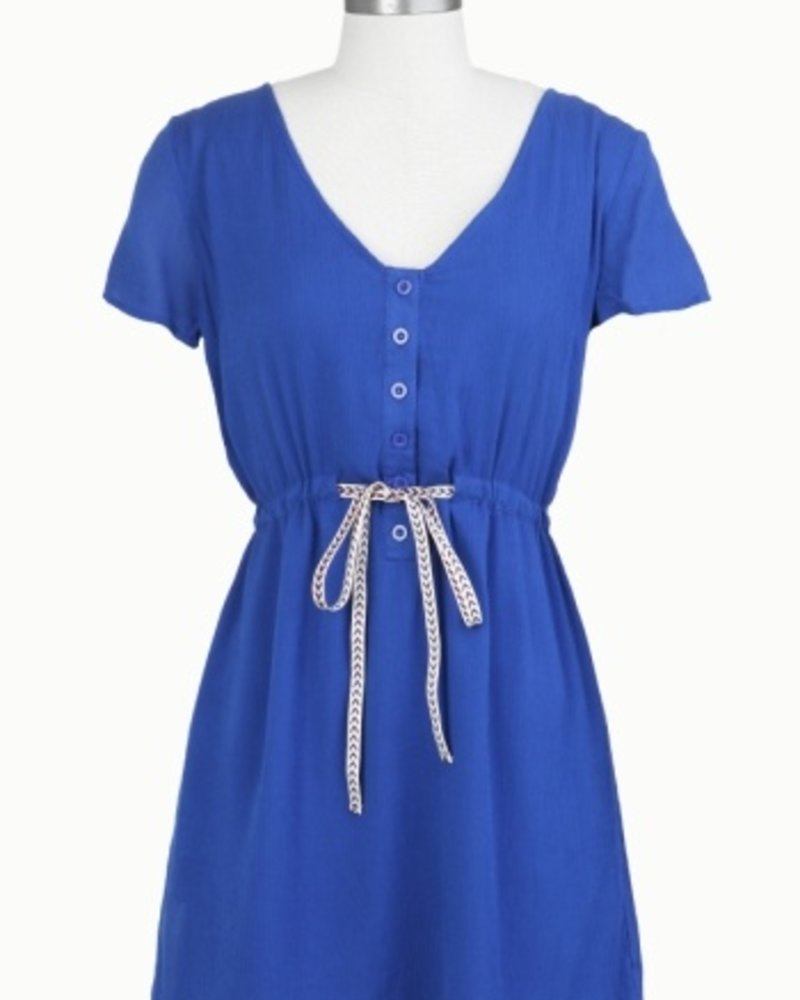 Tulle Tulle Button Up Dress with Contrast Drawstring