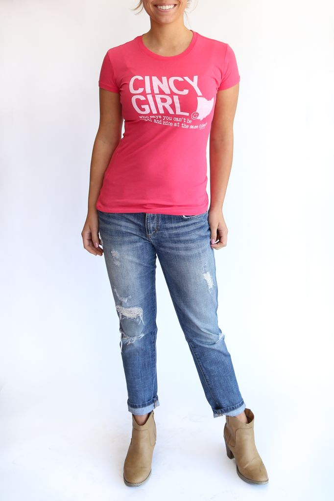 Great to Be Here Tees Cincy Girl Tee, Watermelon with White print