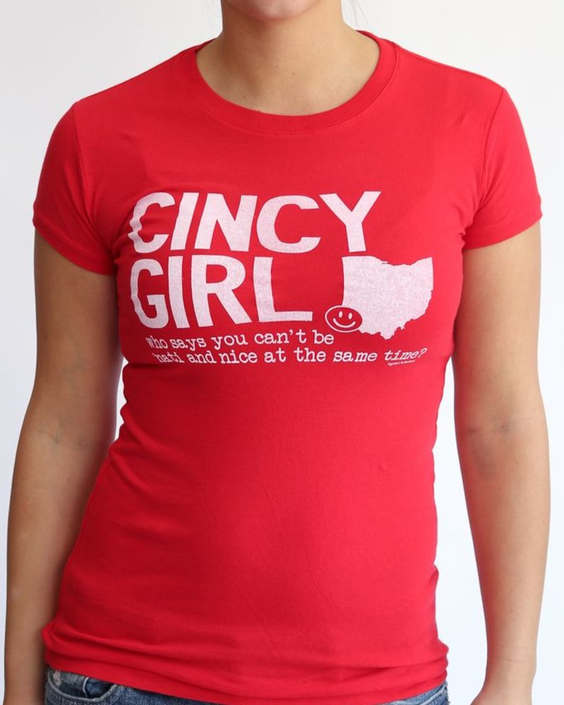 Great to Be Here Tees Cincy Girl Tee in Red with White Ink