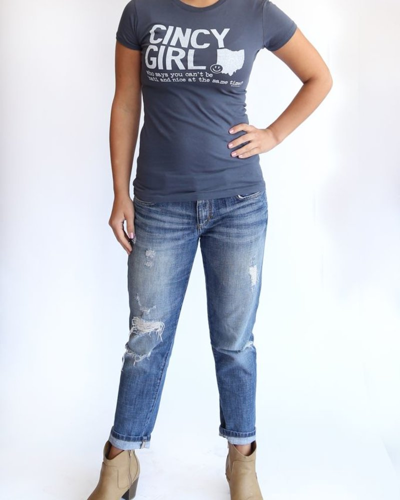 Great to Be Here Tees Cincy Girl Tee, Indigo with White Ink
