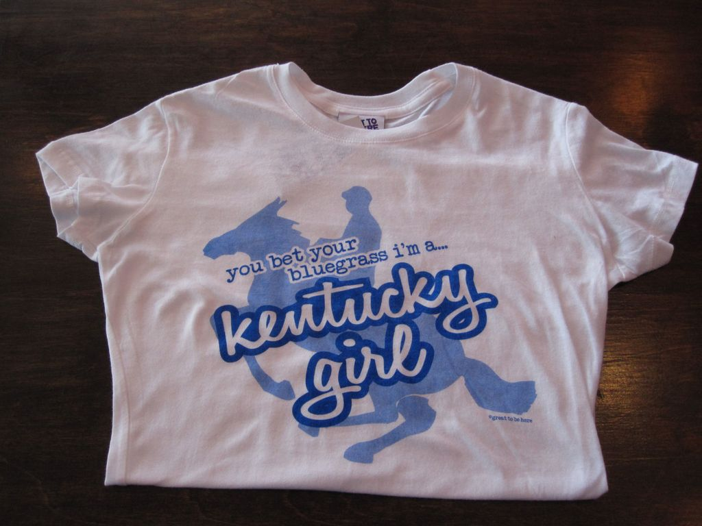 Great to Be Here Tees Kentucky Girl Tee, White with Royal Blue Ink