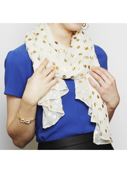 Two's Gold Dot Scarf - Ivory