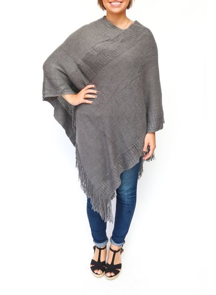 Two's Banded Poncho - Grey