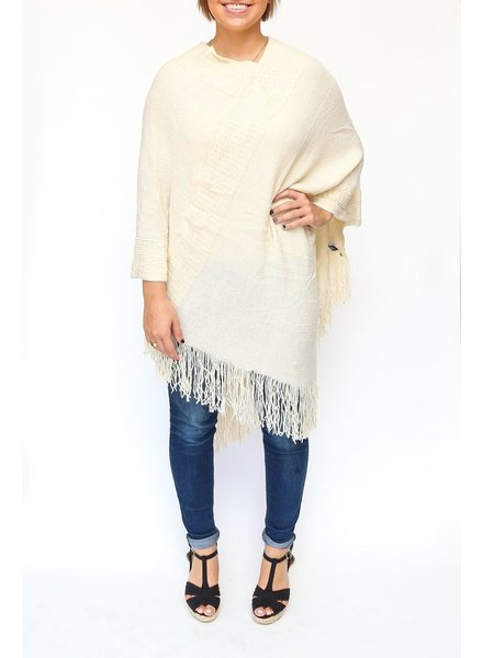 Two's Banded Poncho - Cream