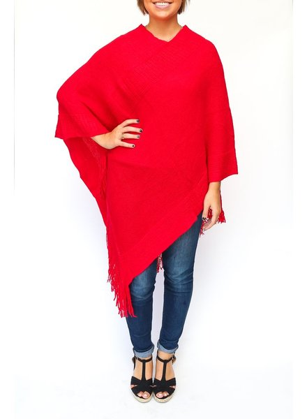 Two's Banded Poncho - Red
