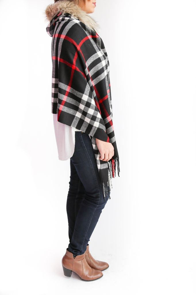 Wish Collection Wish Collection Plaid Poncho, Black