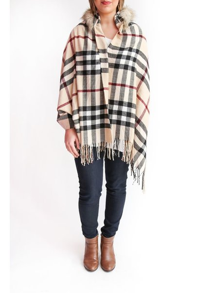 Wish Collection Wish Collection Plaid Poncho, Beige