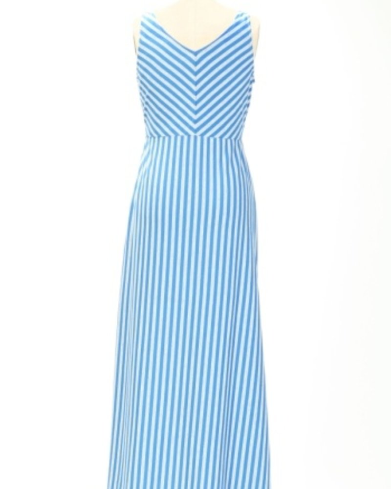 Tulle Blue & Grey Striped Maxi Dress