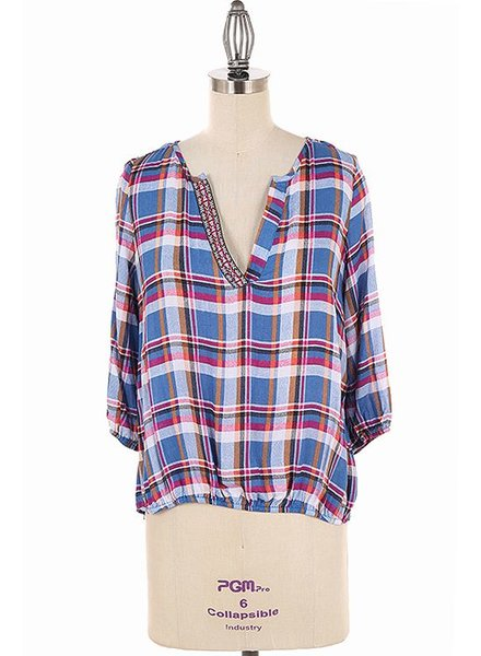 leshop Plaid top with trim
