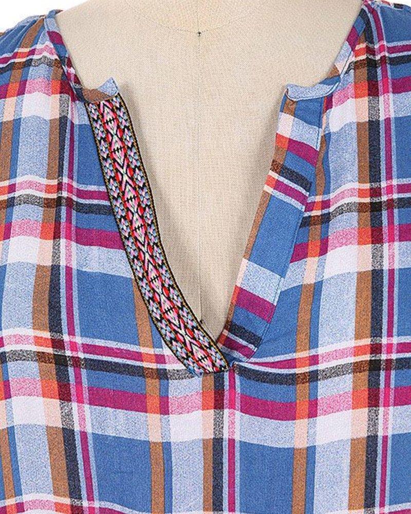 leshop Plaid top with trim
