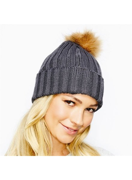 Two's Rib Knit Hat with Faux Fur Pom Pom