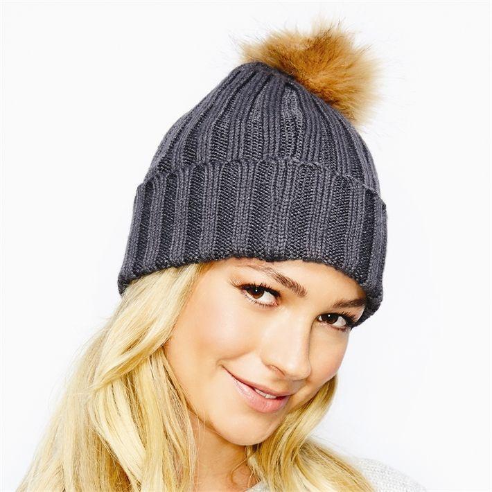 Two's Rib Knit Hat with Faux Fur Pom Pom