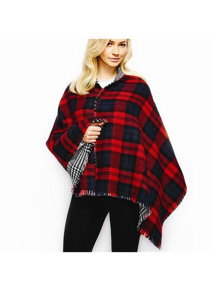 Two's Reversible Plaid Poncho