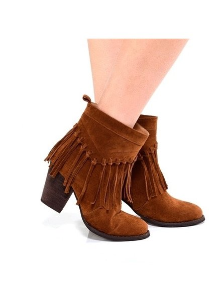 Charlie Paige Zip up Fringe Booties