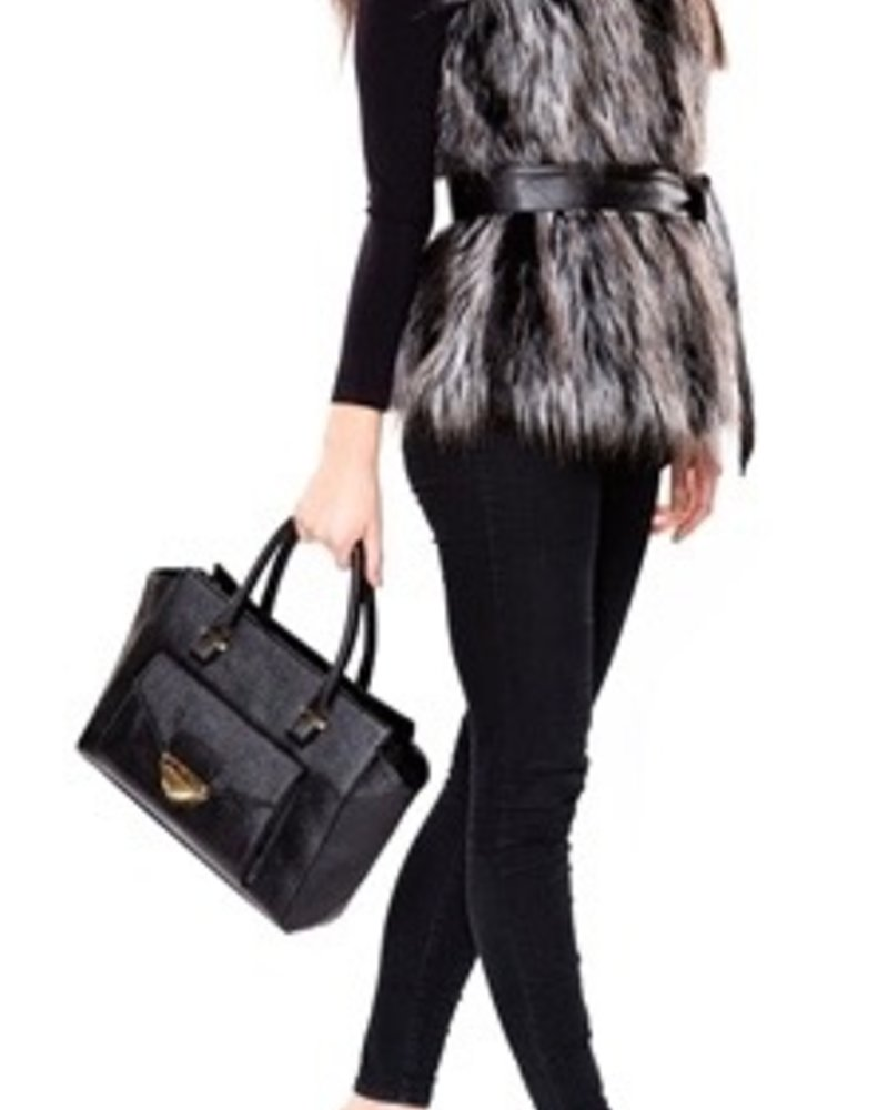 Charlie Paige Faux Fur Vest with Belt