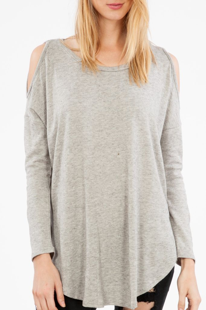 Peach Love CA Knit Cold Shoulder Top