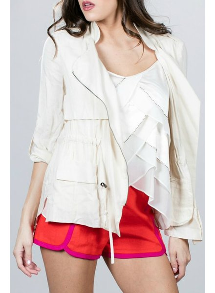 Ark & Co. Zippered Layer Front Blouse