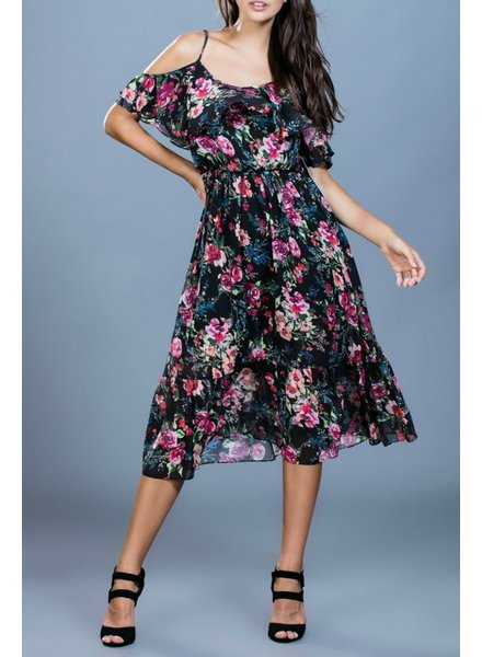 Ark & Co. Ark & Co. Floral Print Open Shoulder Dress