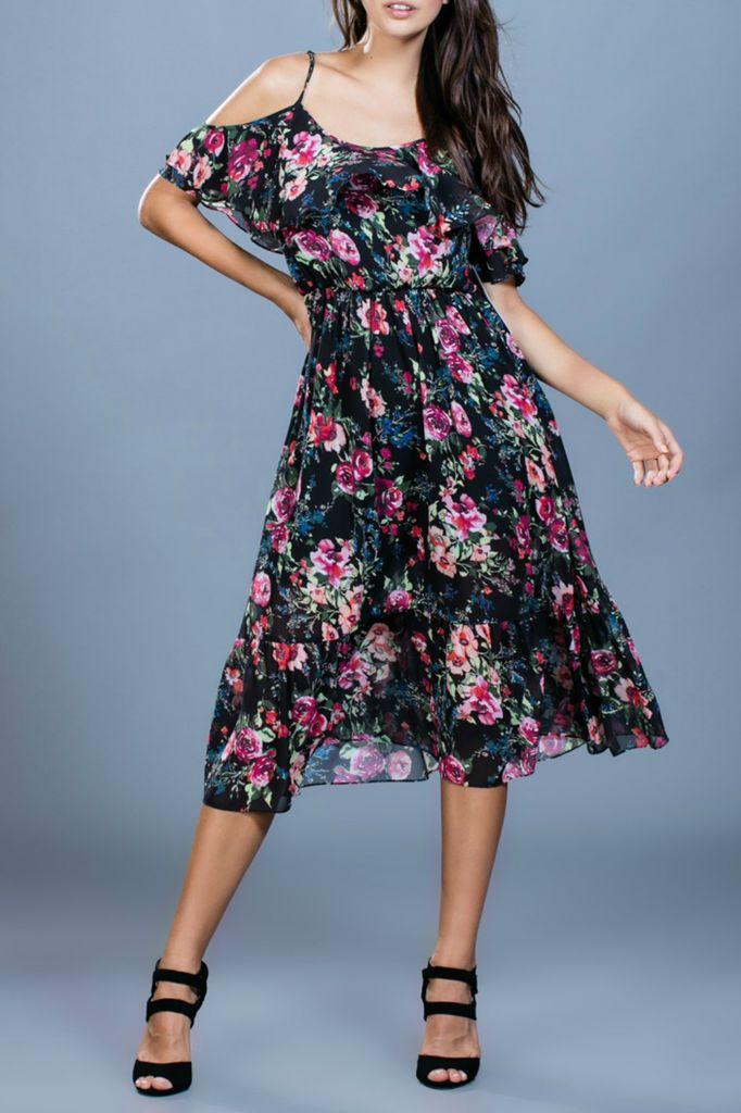 Ark & Co. Ark & Co. Floral Print Open Shoulder Dress
