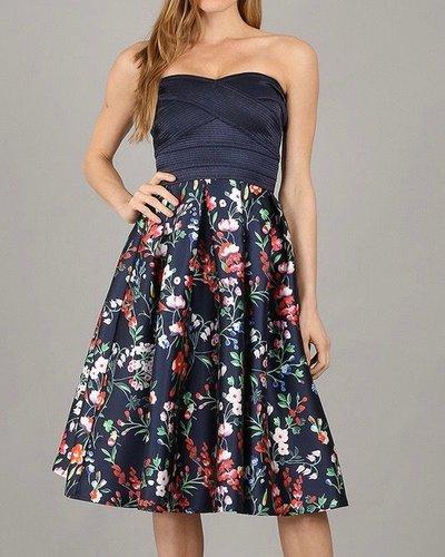 Miss Avenue Strapless Floral Dress