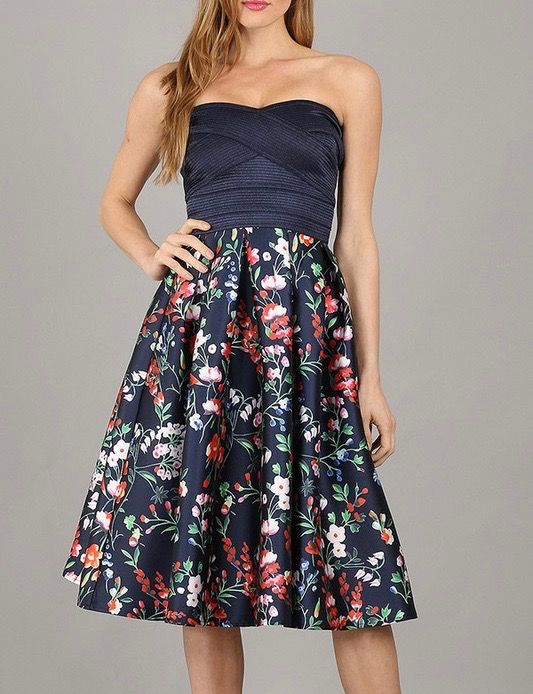 Miss Avenue Strapless Floral Dress