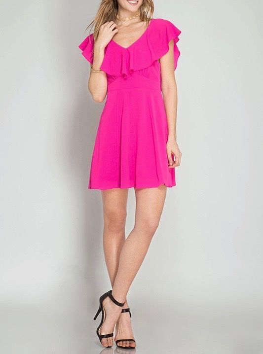 She & Sky Ruffle Sleeve Dress