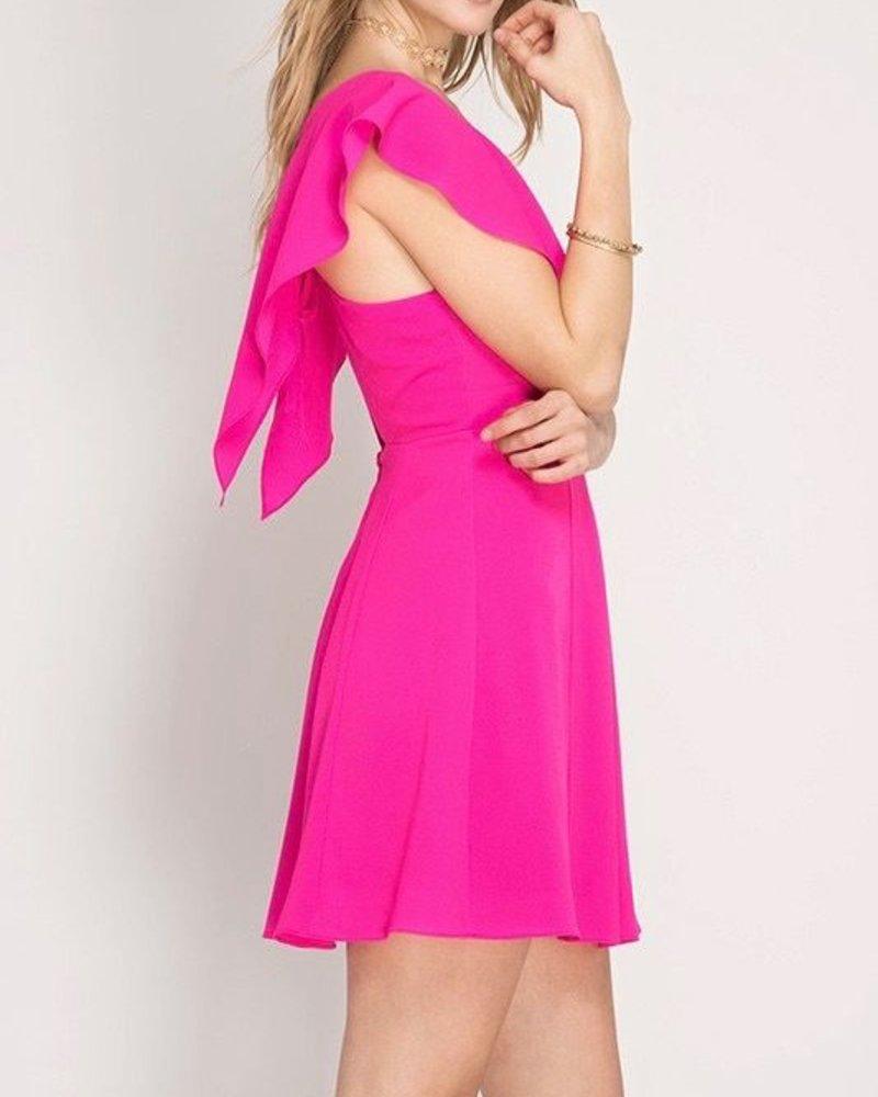 She & Sky Ruffle Sleeve Dress
