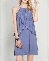 She & Sky Drop Ruffle Shift Dress
