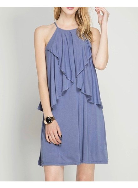 She & Sky Drop Ruffle Shift Dress