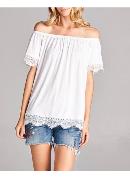 Hailey & Co. Off Shoulder Top with Lace