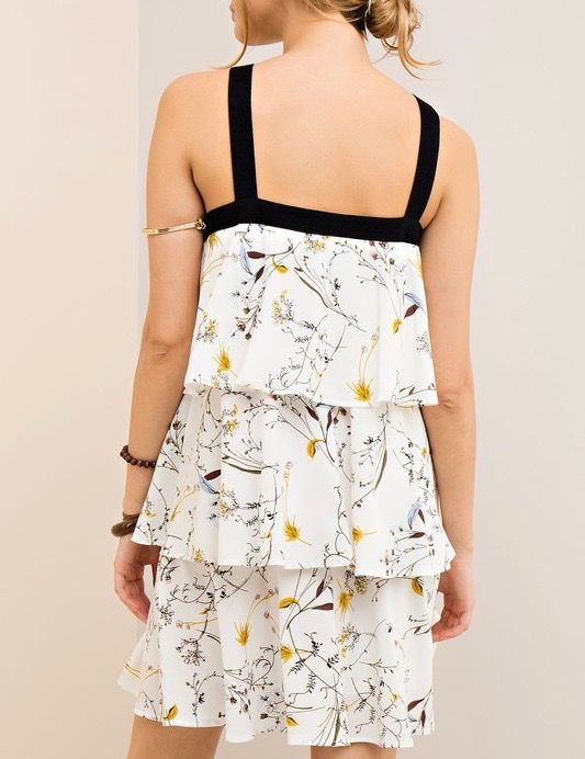 Entro Floral printed tiered dress