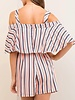 Entro Striped open shoulder romper