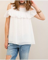 Entro Dotted open shoulder top