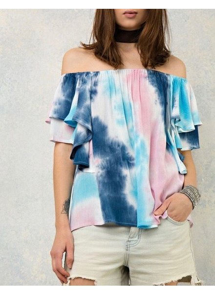 Entro Tie dye off the shoulder top