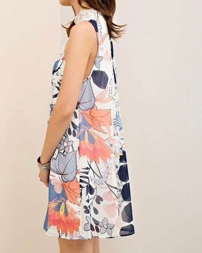 Entro Mock neck printed shift dress