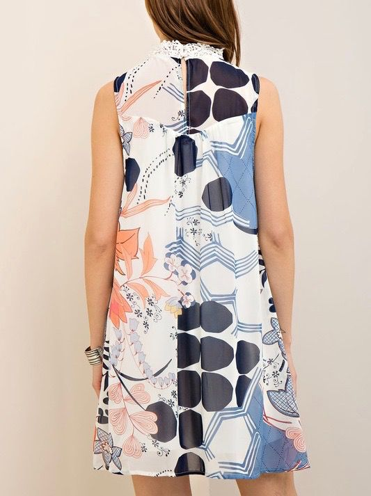 Entro Mock neck printed shift dress